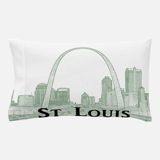StLouis_Downtown_Rect_BlackGreen Pillow Case