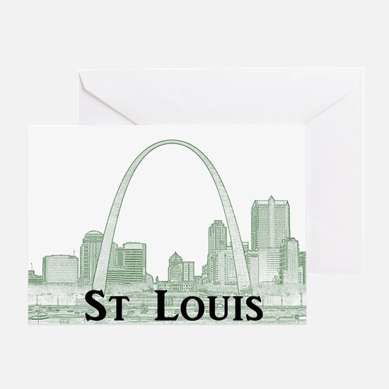 StLouis_Downtown_Rect_BlackGreen Greeting Card