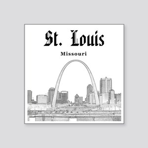"StLouis_12x12_Downtown_Blac Square Sticker 3"" x 3"""