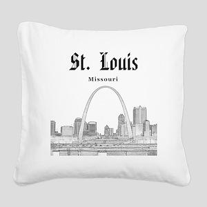 StLouis_12x12_Downtown_Black Square Canvas Pillow