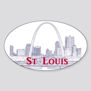 StLouis_Downtown_Rect_BlueRed Sticker (Oval)