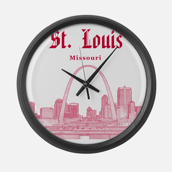 StLouis_12x12_Downtown_Red Large Wall Clock
