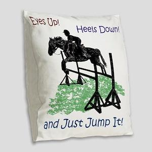 Fun Hunter/Jumper Equestrian H Burlap Throw Pillow