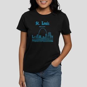 StLouis_12x12_Downtown_Blue Women's Dark T-Shirt