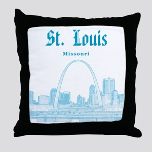 StLouis_12x12_Downtown_Blue Throw Pillow