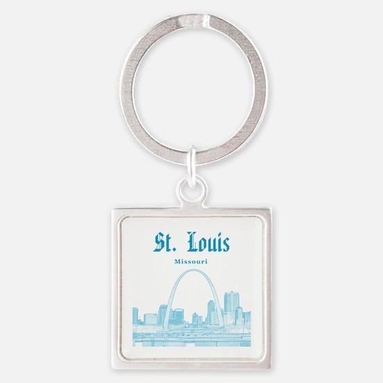 StLouis_12x12_Downtown_Blue Square Keychain