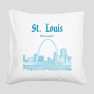 StLouis_12x12_Downtown_Blue Square Canvas Pillow