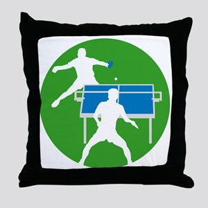 male table tennis players Throw Pillow