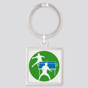 male table tennis players Square Keychain