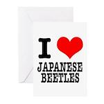 I Heart (Love) Japanese Beetles Greeting Cards (Pa
