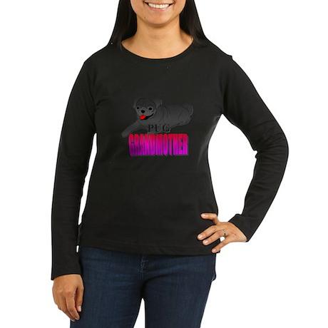 Black Pug Grandma Women's Long Sleeve Dark T-Shirt