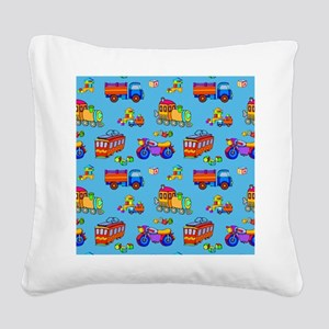 Toys - Red Trucks  ... Square Canvas Pillow