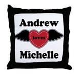 Personalized Wing Heart Couples Love Throw Pillow