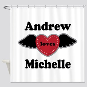 Personalized Wing Heart Couples Love Shower Curtai