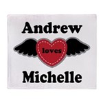Personalized Wing Heart Couples Love Throw Blanket
