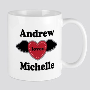 Personalized Wing Heart Couples Love Mugs