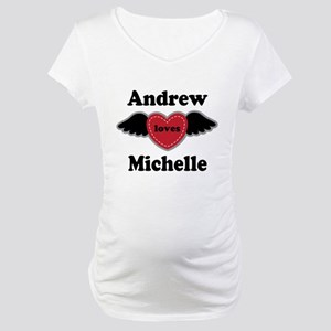 Personalized Wing Heart Couples Love Maternity T-S