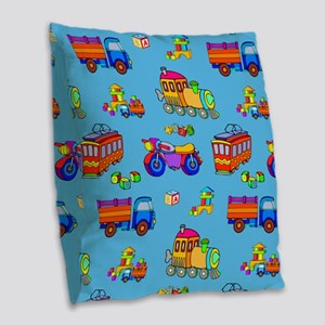 Toys - Red Trucks  ... Burlap Throw Pillow
