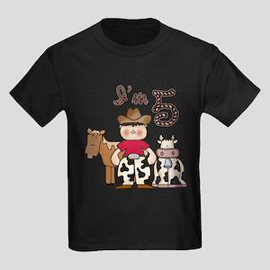 Cowboy 5th Birthday Kids Dark T-Shirt