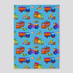 Toys - Red Trucks  Orange Trains 5'x7'Area Rug