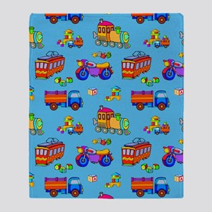 Toys - Red Trucks  Orange Trains Throw Blanket