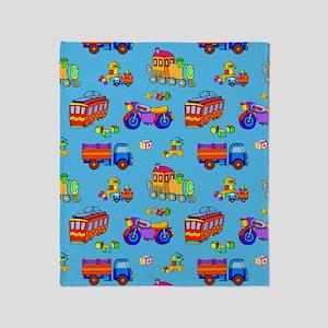 Toys - Red Trucks  Orange Trains Throw Blanket