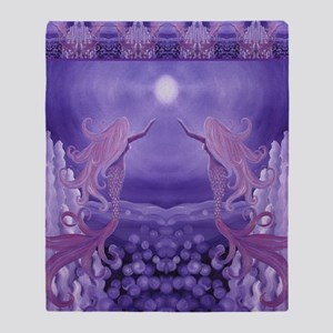 lavender mermaid shower curtain Throw Blanket