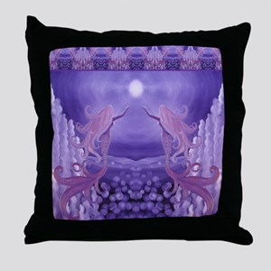 lavender mermaid shower curtain Throw Pillow