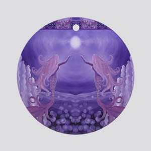 lavender mermaid shower curtain Round Ornament