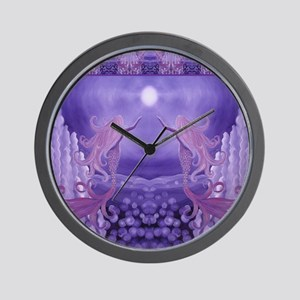 lavender mermaid shower curtain Wall Clock