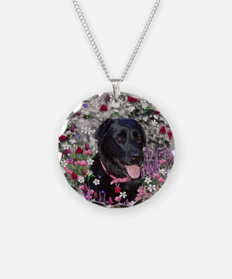 Abby the Black Lab in Flower Necklace