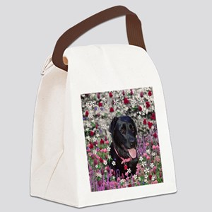 Abby the Black Lab in Flowers Canvas Lunch Bag