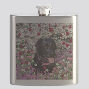 Abby the Black Lab in Flowers Flask
