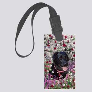 Abby the Black Lab in Flowers Large Luggage Tag