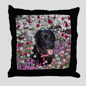 Abby the Black Lab in Flowers Throw Pillow
