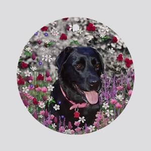 Abby the Black Lab in Flowers Round Ornament