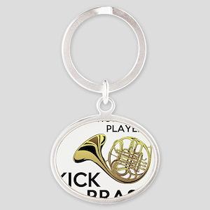 Horn Players Kick Brass Oval Keychain