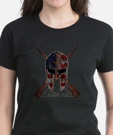Molon Labe Crossed Guns Women's Dark T-Shirt