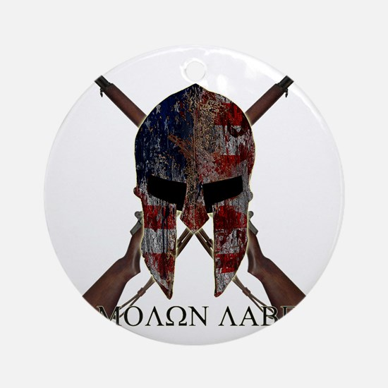 Molon Labe Crossed Guns Round Ornament