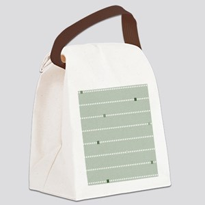 dotted stripes light green Canvas Lunch Bag