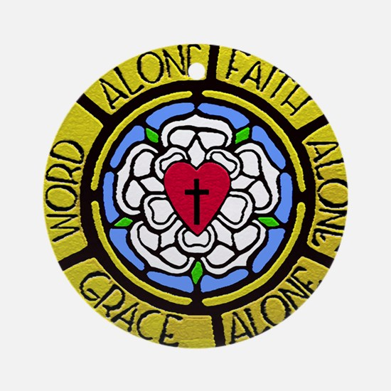 Grace Faith Word License Plate Round Ornament
