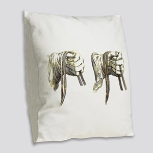 dressage hands large Burlap Throw Pillow