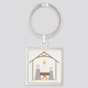Away in a Manger Square Keychain