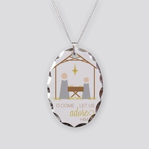 Let Us Adore Him Necklace Oval Charm