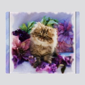 Painted Golden Persian Kitten Throw Blanket