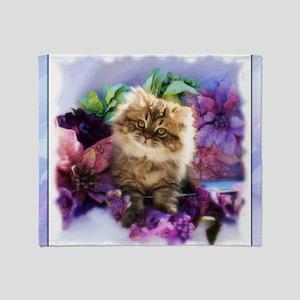 Painted Golden Persian Kitten Throw Blanket