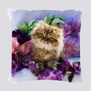 Painted Golden Persian Kitten Woven Throw Pillow