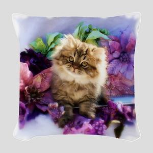 Painted Golden Persian Kitten Woven Throw Pillow
