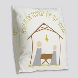 Reason for the Season Burlap Throw Pillow