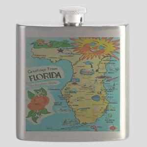 Vintage Florida Sun Map Flask